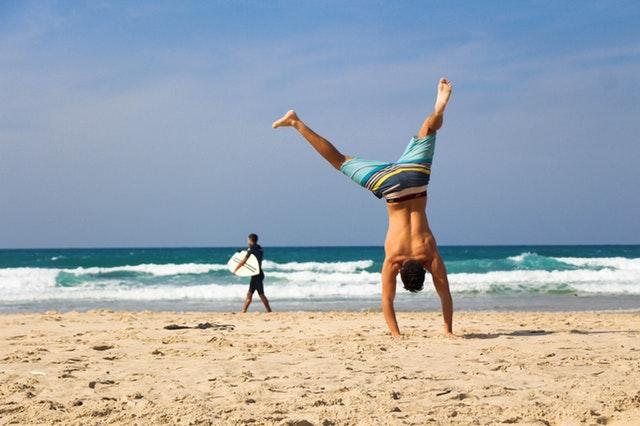 Cartwheel by the beach